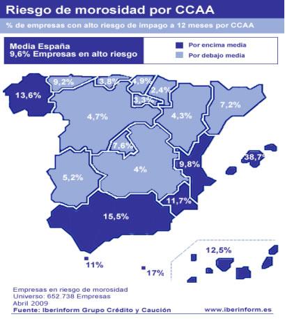 Mapa España de impagos y morosidad